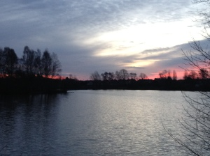 Distance Sun Rise Over Blue Lake 2