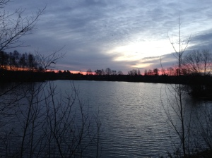 Distance Sun Rise Over Blue Lake 3