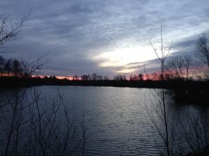 Distance Sun Rise Over Blue Lake 4