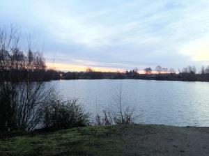 Distance Sun Rise Over Blue Lake 5