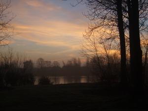 Misty Sunrise Over Blue Lake 1