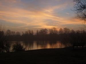 Misty Sunrise Over Blue Lake 2