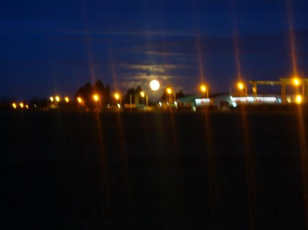 Full Moon Behind Street Lights