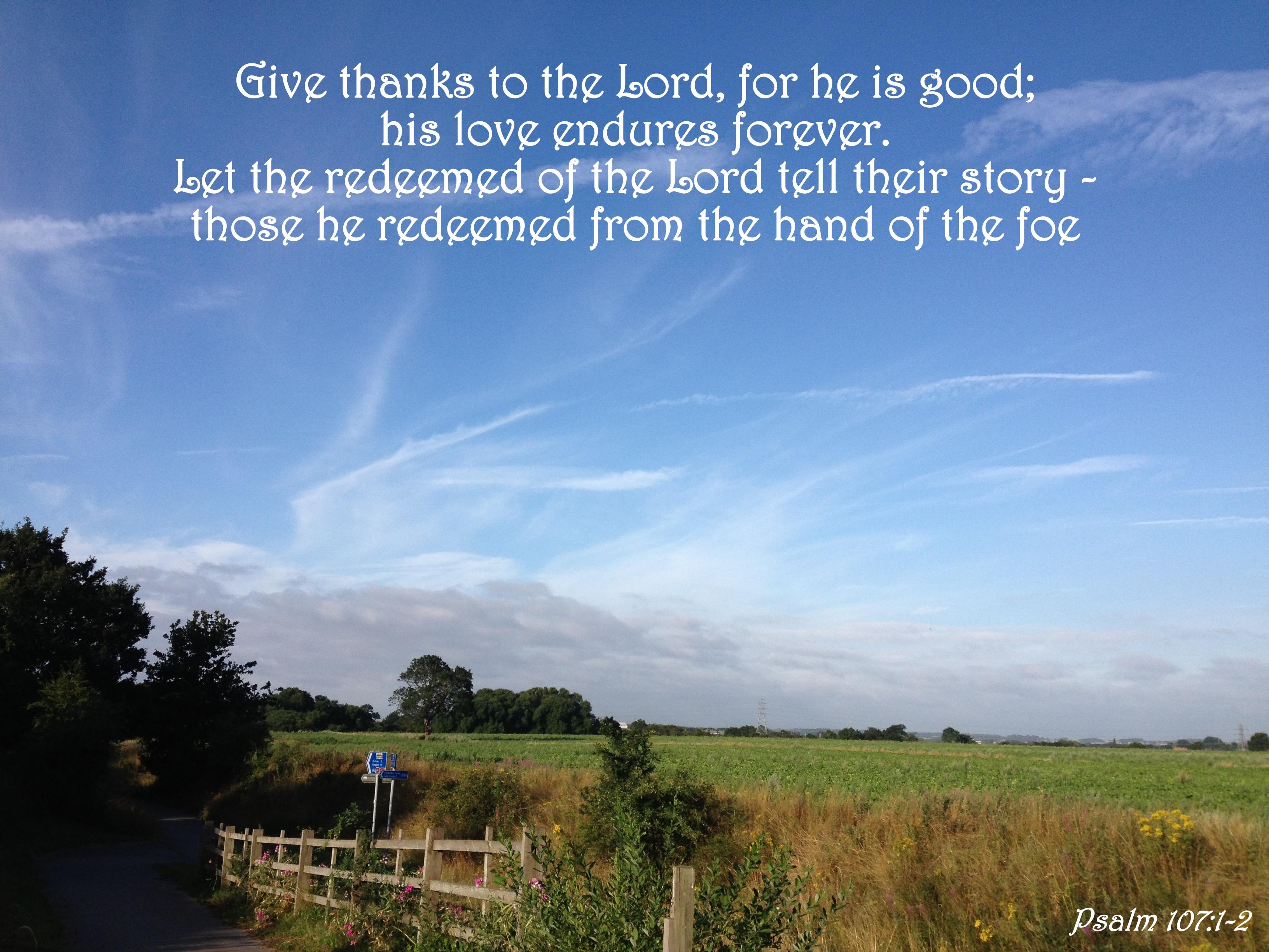 Kuvahaun tulos haulle Psalm 107:1